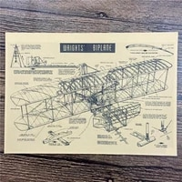 rma 243 high quality 100 wrights biplane vintage kraft paper retro poster pictures for home decor house bar cafe 42x30cm