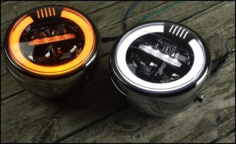 6.8 polegada retro farol da motocicleta universal cafe racer modificado frente farol lâmpada de cabeça led transformar a luz farol moto