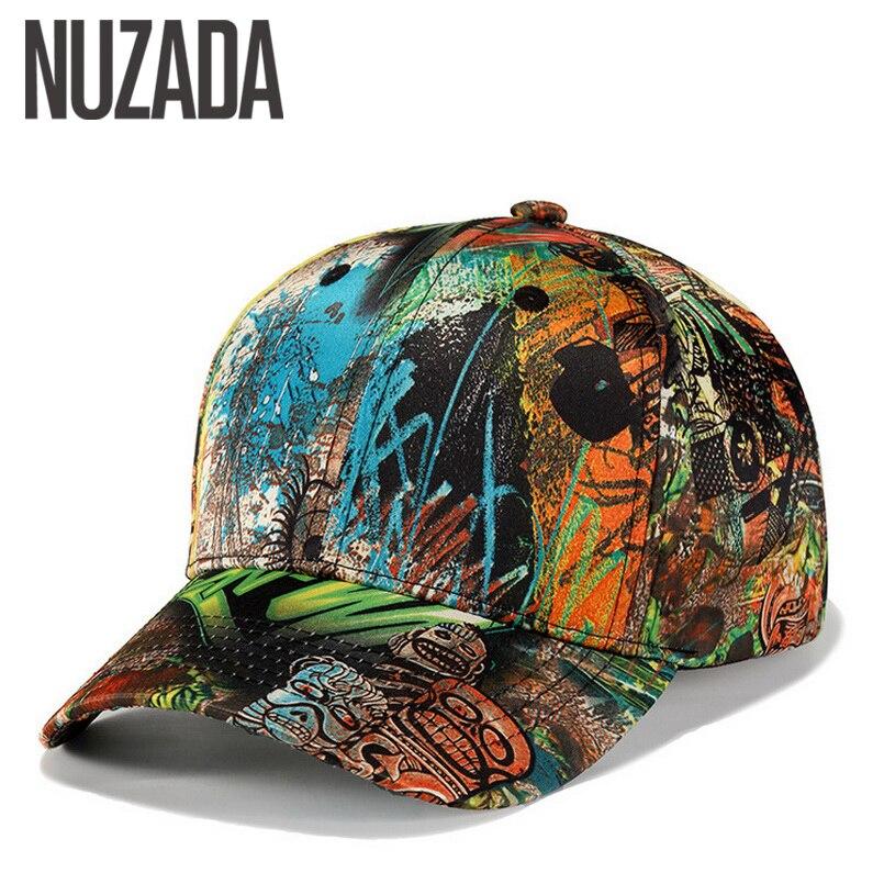 Brand NUZADA Unique 3D Printing Spring Summer Autumn Men Women Couple Baseball Cap Cotton Street Art Bone Hats Snapback Caps