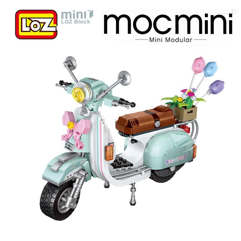 LOZ bloques motocicleta carrito de batería juguetes modelo figurillas creador técnico figuras serie Souvenir regalo para chica chico mujer amigos