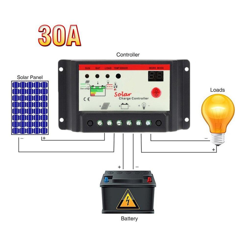 Tensione LCD Carregador Solar 10A 20A 30A 12 V/24 V PWM Regolatore Solare Batteria cella caricatore del pannello Della Lampada