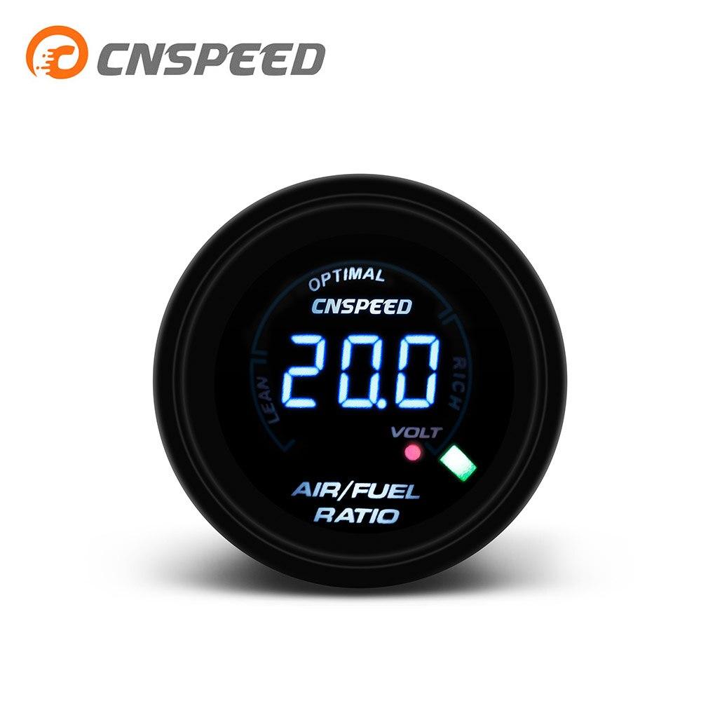 """CNSPEED 2 """"52 мм 20 LED Цифровой Автомобильный датчик соотношения топлива для автомобиля 12 В гоночный воздушный счетчик топлива индикатор Дымчатая линза AFR YC101345"""