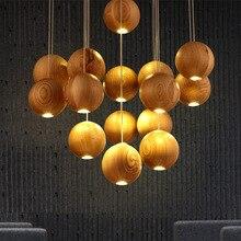 Lustre boules lampe en bois bois lumière LED arbre lampes éclairage chinois japonais lustres Table à manger luminaires nordiques