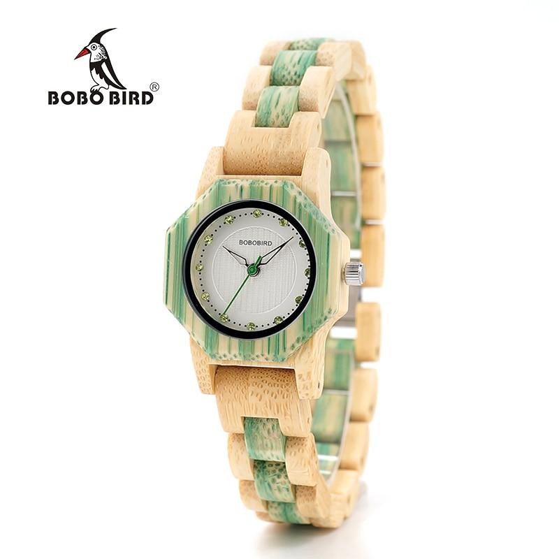 Bobo птица женский розовый зеленый деревянные часы Fashion Цвета Bling Детские весы циферблат лица деревянные часы из дерева женщина в деревянный к...
