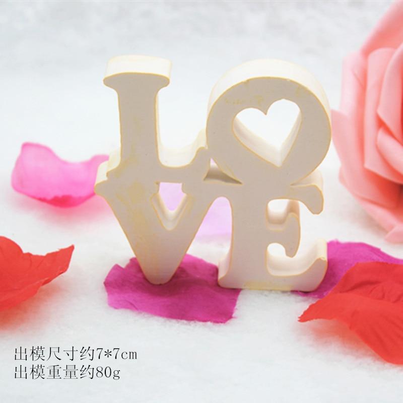 Moldes de gel de silicona con colgante de yeso estéreo con letras LOVE creative, molde de yeso perfumado, molde de regalo de adorno de barro DIY