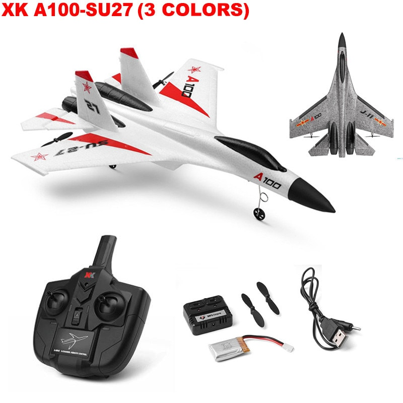 Novo xk A100-SU27 rc avião 2.4g 340mm 3ch aviões asa fixa ao ar livre rc brinquedos voando avião de controle remoto presente das crianças