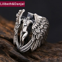 Jesus Christ Ring 100% Real 925 sterling Thai silver Men Devil Angel Ring Fashion fine jewelry FR20