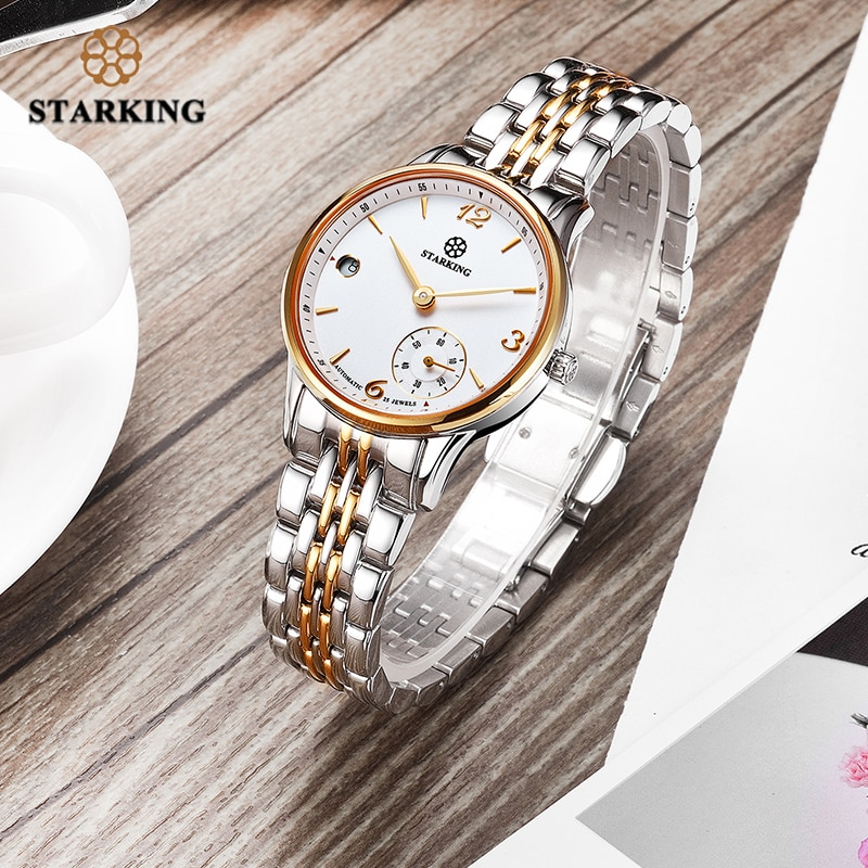 STARKING Automatic self winding women watches Stainless Steel Sapphire Crystal watch Waterproof 5ATM Auto Date Two Dials Clock enlarge
