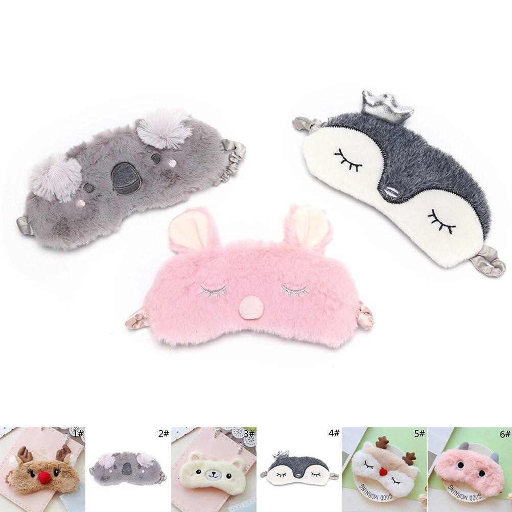 Mascarilla para dormir con Koala/conejito de corte negro, mascarilla para dormir, siesta, dibujos animados, máscara de felpa, vendaje en los ojos para dormir sombra de ojos