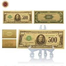WR accessoires de décoration de maison   Billet dor 500 Dollar 24k Unique US 999.9 papier feuille dor, monnaie du monde avec support bon marché