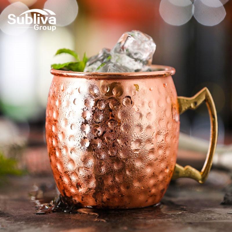 Hammered Moscow Mule Copper Plated Mugs 304 Stainless Steel 550ml Drum Type Beer Mug Water Glass Drinkware