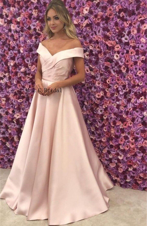 Vestido largo de satén rosa claro vestidos de baile de graduación sin hombro una línea de longitud hasta el piso Vestidos de fiesta de noche Simple 2019 vestido de mujer barato