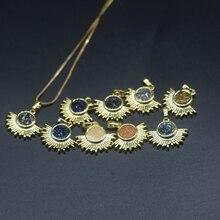 1dozen 8MM druzy women necklace charm pendant, Gold plate neckalac DIY natural Gem stone jewelery, original design, fashion gift