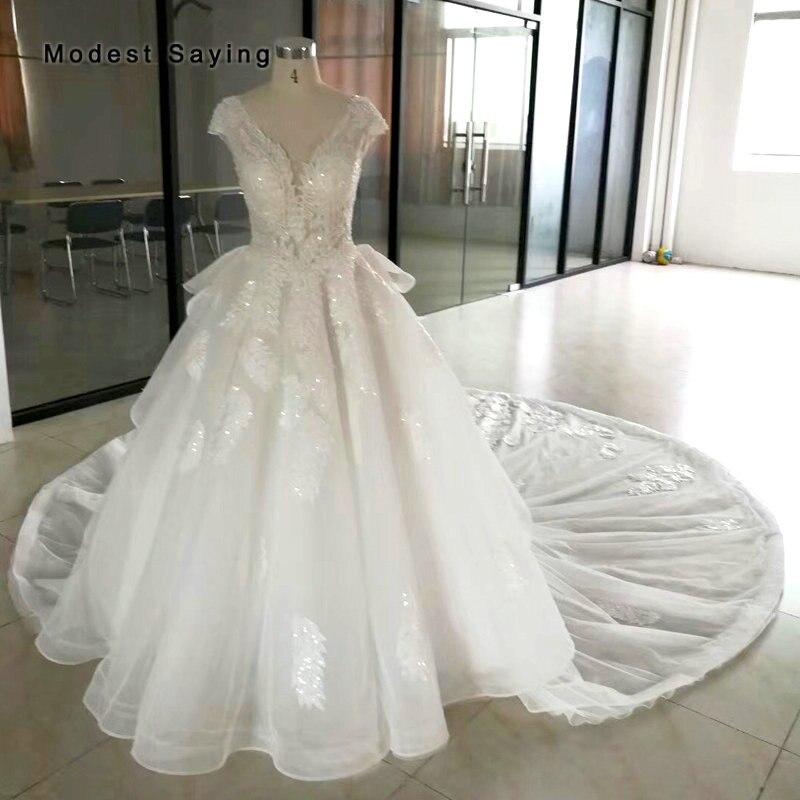 Monarch-فستان زفاف من الدانتيل العاجي مع ذيل قابل للفصل ، فستان زفاف مثير برقبة على شكل V ، 2019
