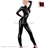 black latex catsuit with vertical breast and cuffs zipper rubber body suit unitard zentai overall plus size lt 120