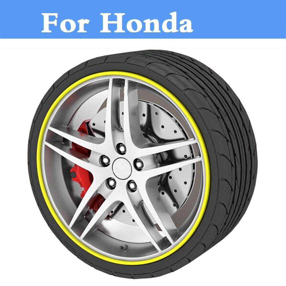 8M Car styling Tire Tyre Rim care Hub Wheel Stickers strip for Honda Accord Airwave City Crossroad Crosstour CR-V CR-Z Element