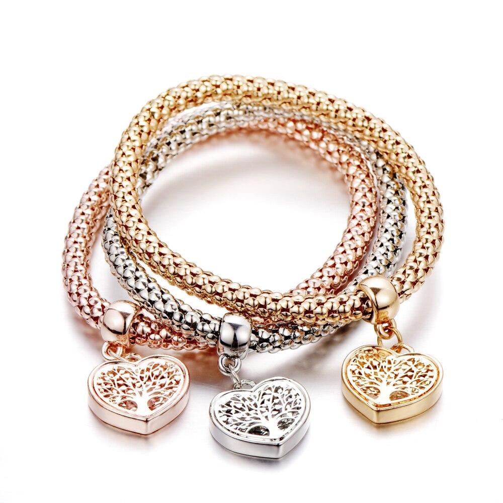 Женские браслеты с подвесками в виде сердца «Дерево жизни» золотого цвета, Этнические браслеты с кристаллами Love B158, 2019