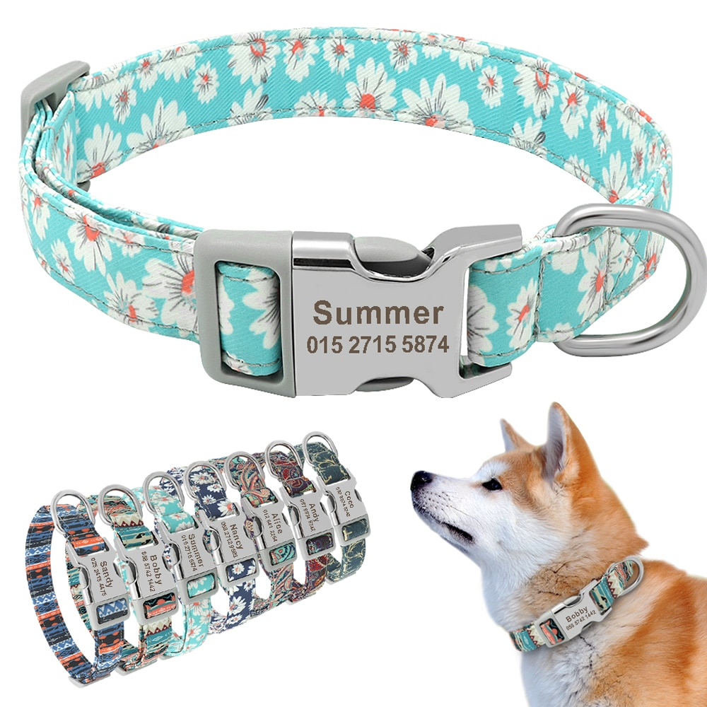 Custom Engraved Dog Collar Personalized Printed Pet Dog Tag Collar Nylon Puppy Cat Name Phone ID Collars For Small Large Dogs personalized dog collar nylon print dog collars customized puppy pet collar engraved name id for small medium large big dogs pug