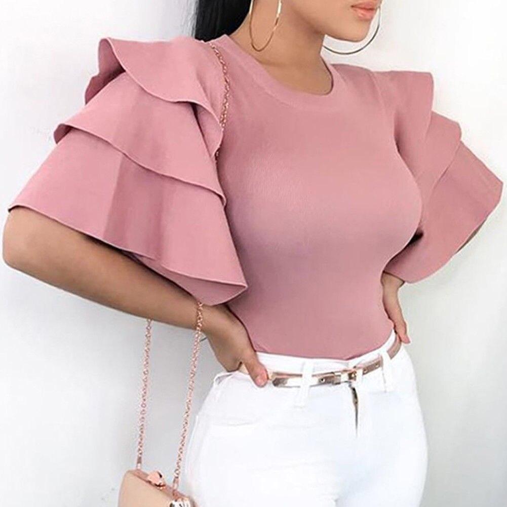Blusa manga curta peplum feminina, camisas plissadas manga curta tamanho grande para mulheres verão 2019
