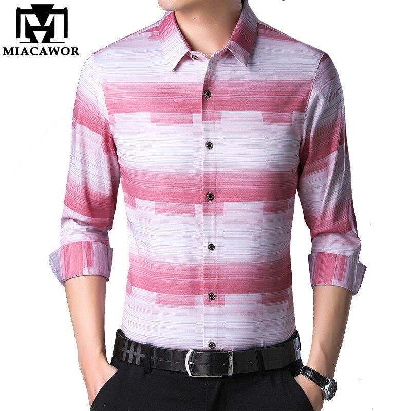Camisas nuevas MIACAWOR para hombre, Camisa informal a rayas, Camisa de manga larga Masculina, camisas sociales ajustadas, ropa para hombre C490