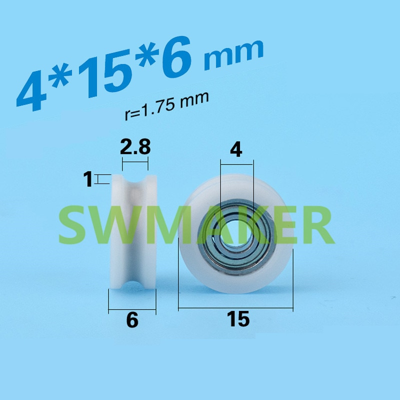 Roulement à rouleau miniature en plastique   Sac en Nylon, injection plastique, portes et fenêtres U type poulie, fabricant de roues de poulie 4*15*6mm