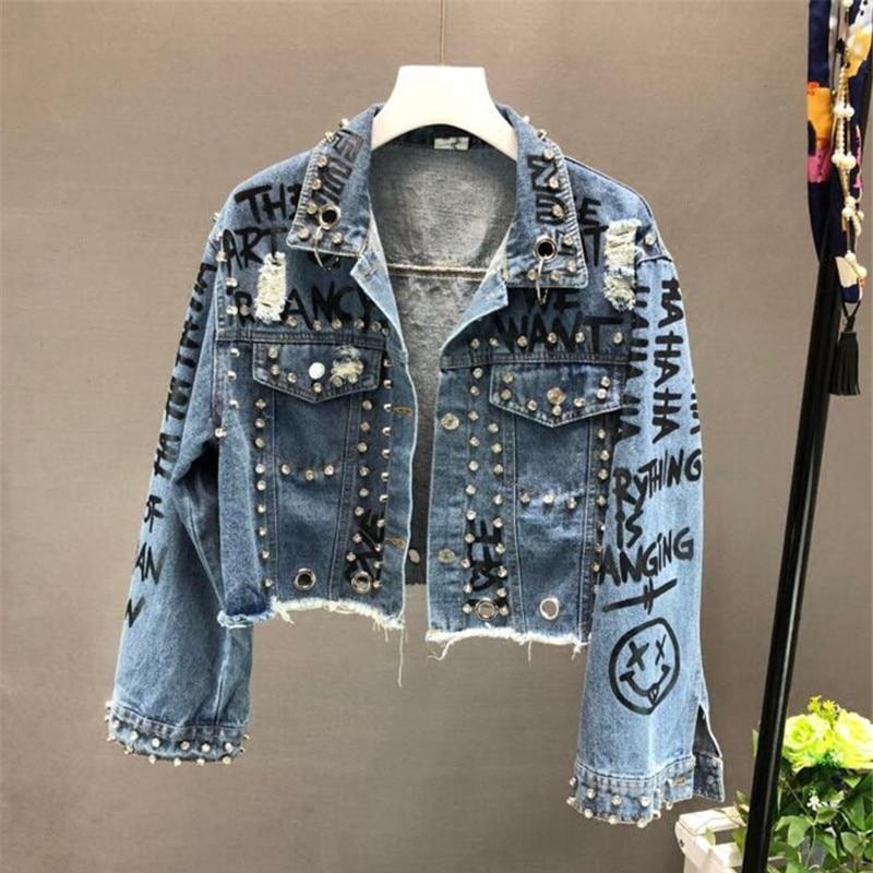 موضة جديدة لعام 2021 معطف دينم قصير ومطبوع عليه رسومات من الألماس مزين بالخرز للنساء غير رسمي معاطف جينز كاوبوي ملابس خارجية R773