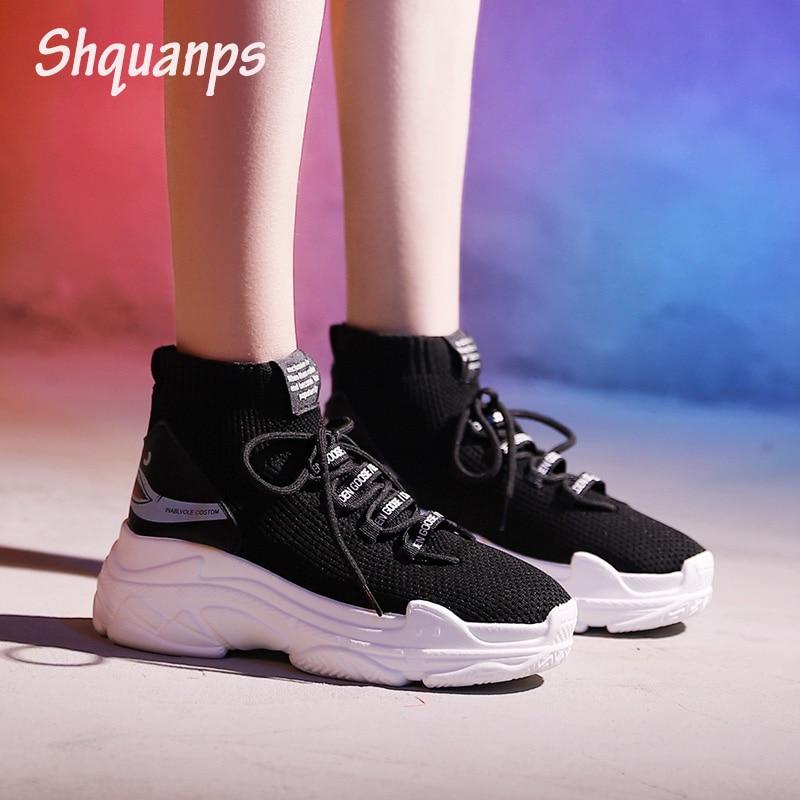 Zapatillas de deporte para mujer, zapatos planos de plataforma transpirables, zapatillas informales Scarpe Donna, zapatos de mujer de talla grande 44