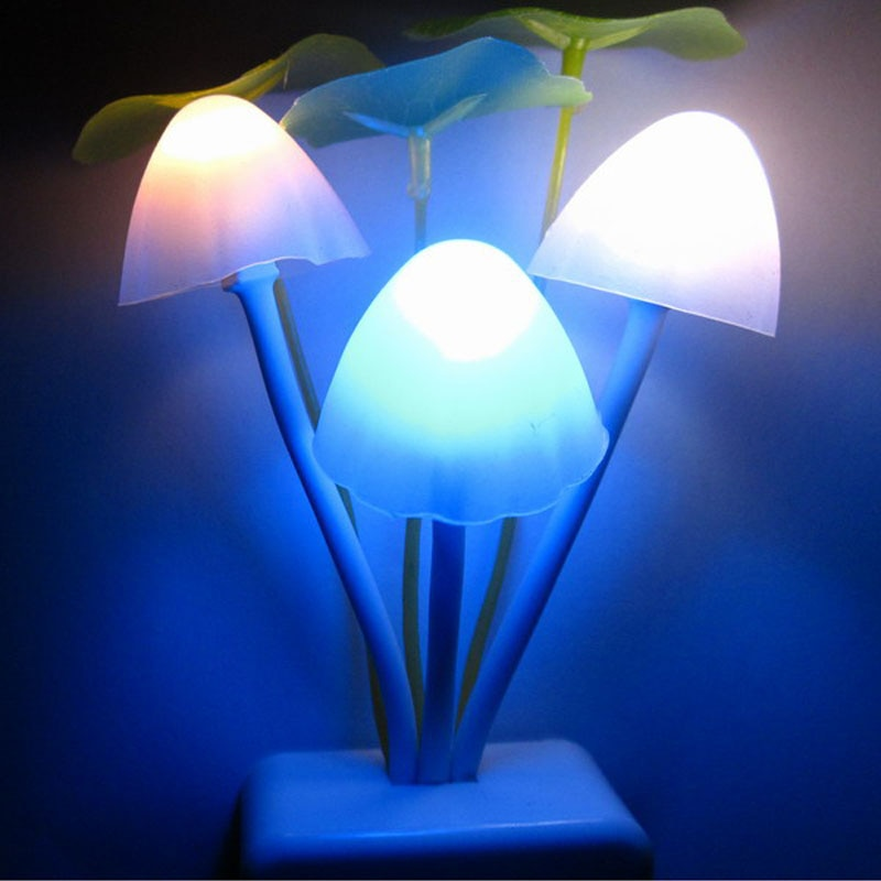 Light Sensor Control Mushroom LED Night Light for Dark Night Children Bedroom Bedside Lamp with US Plug Baby Sleeping Light  @Q