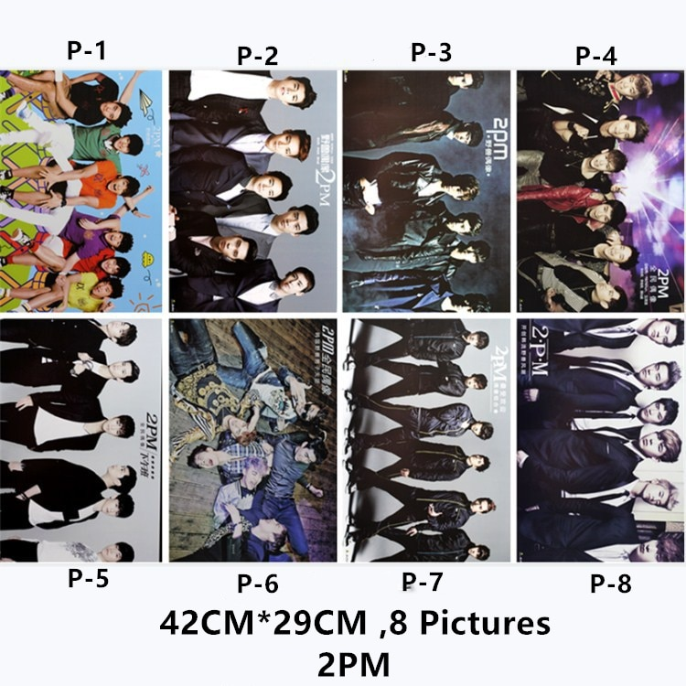 8 pcs/Lot Korea Stars 2PM Posters Stickers Toys Jun. K Nichkhun Ok TaecYeon Jang WooYoung Lee Junho Chansung 8 Pictures 42x29 CM