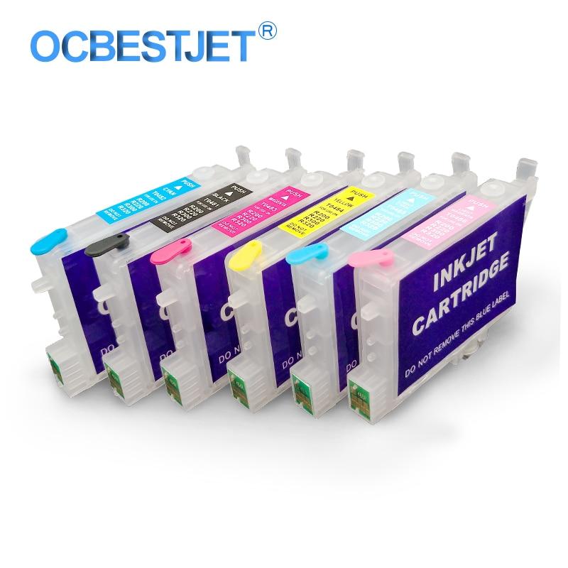 6 colores/juego T0481-T0486 cartucho de tinta recargable con Chip para Epson Stylus Photo R200 R220 R300 R320 R330 R340 RX500 RX600