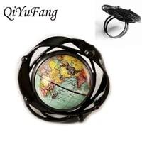 2018 new earth world map flower black ring pendant for men women diy globe jewelry children friends gift gift free shipping