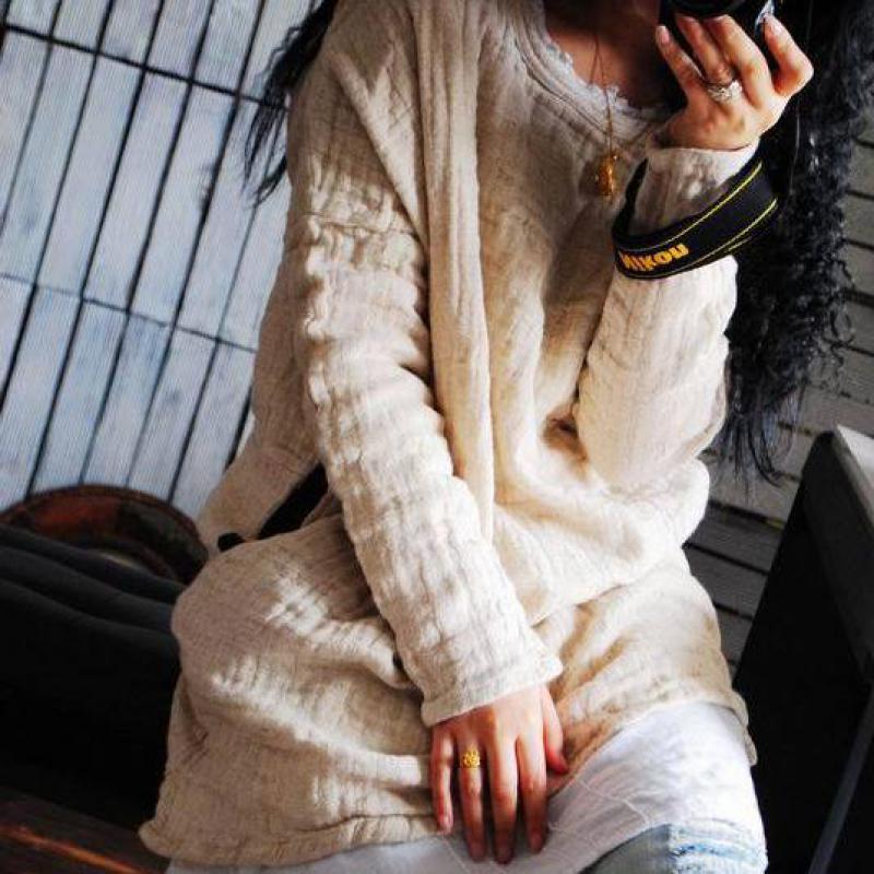 2017 الشتاء الأصلي الفن فضفاض طبقة مزدوجة الكتان المنسوجة تي شيرت المرأة طويلة غير النظامية هيم القطن الكتان بلايز تي شيرت