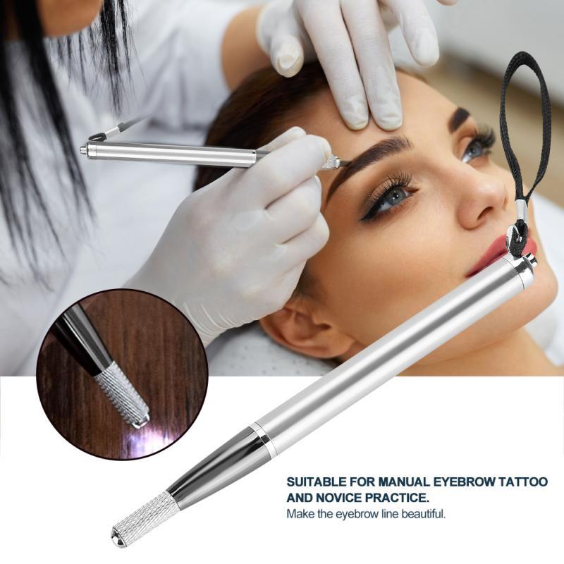 Bolígrafo herramienta de maquillaje para cejas, tatuaje Microblading Manual, soporte de hoja con LED ceja clara, pluma de tatuaje Manual para aguja de tatuaje