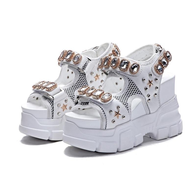 Women's Summer Sandals Fashion Rhinestone Wedges Sandal Super High Heels Female Sandals Shoes 2019 Woman Summer Shoes Sandal