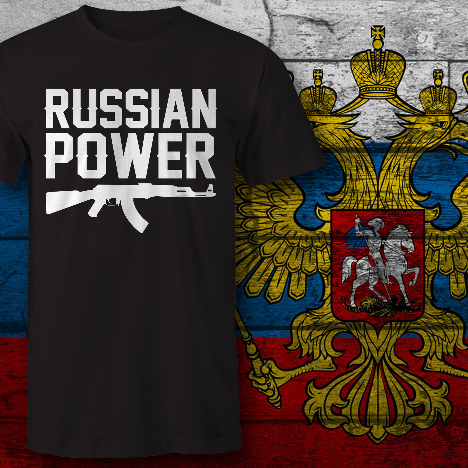 HERREN camiseta DRUCK poder ruso AK 47 KALASCHNIKOW Rusia Putin Moscú CCCP