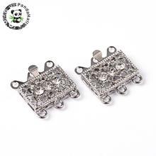 2 ensembles multi-brins en laiton boîte fermoirs doré platine fermoirs avec un strass clair pour la fabrication de bijoux 18x17x7mm trou 1.5mm