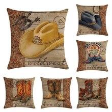 45*45cm Cowboy Shoes Hat Pattern Cotton Linen Throw Pillow Cushion Cover Home Decoration Sofa Bed Decor Decorative Pillowcase