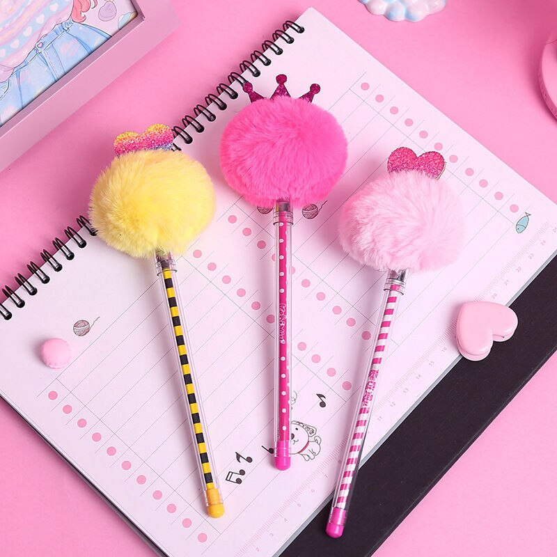 Coloffice bonito 0.5mm caneta de gel de plástico de cor pura caneta de pelúcia fonte de assinatura de tinta preta caneta de cor lápis de escola de escritório lollipop 1 pc