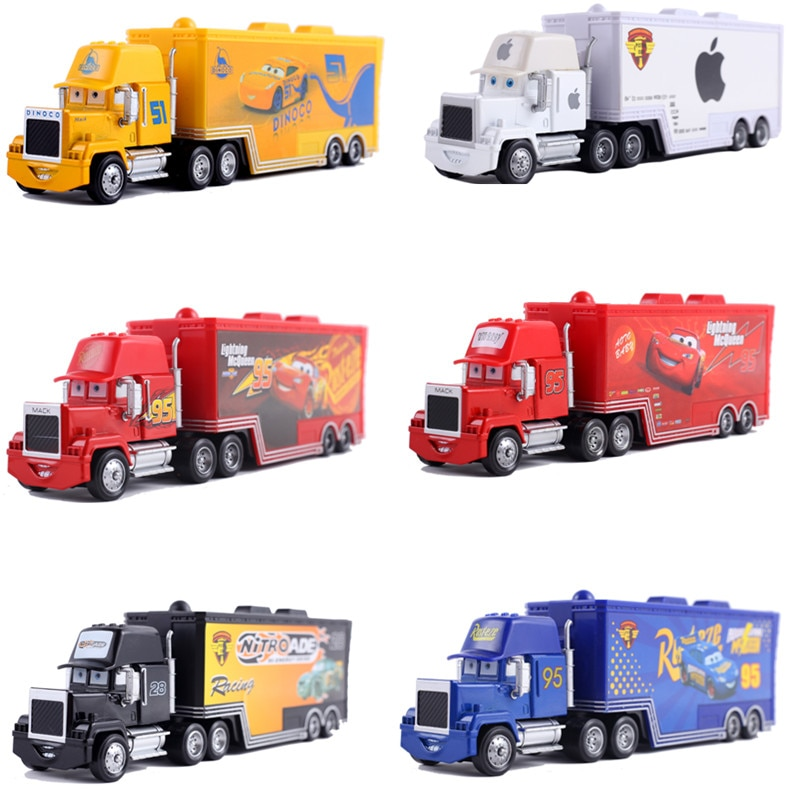 Cars 2 Disney Pixar Cars 3 Toys Lightning McQueen Mack Uncle Truck Jackson Storm Mater 1:55 Diecast Metal Alloy Car Mode Toy