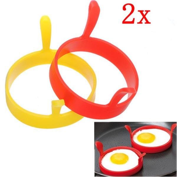 2 uds. Moldes creativos redondos de silicona para desayuno y huevos fritos molde de anilla para tortitas herramienta de cocina Accesorios