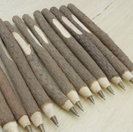 4PCS/lot NEW Vintage handmade wooden Environmental ball pen twig ballpoint pen nice gift wedding pen school office supplies