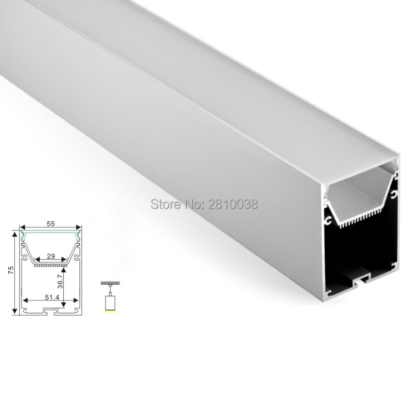 50 X 2M Sets/Lot Office lighting  led profile housing 75 mm Tall U type led aluminum extrusion for suspension lights