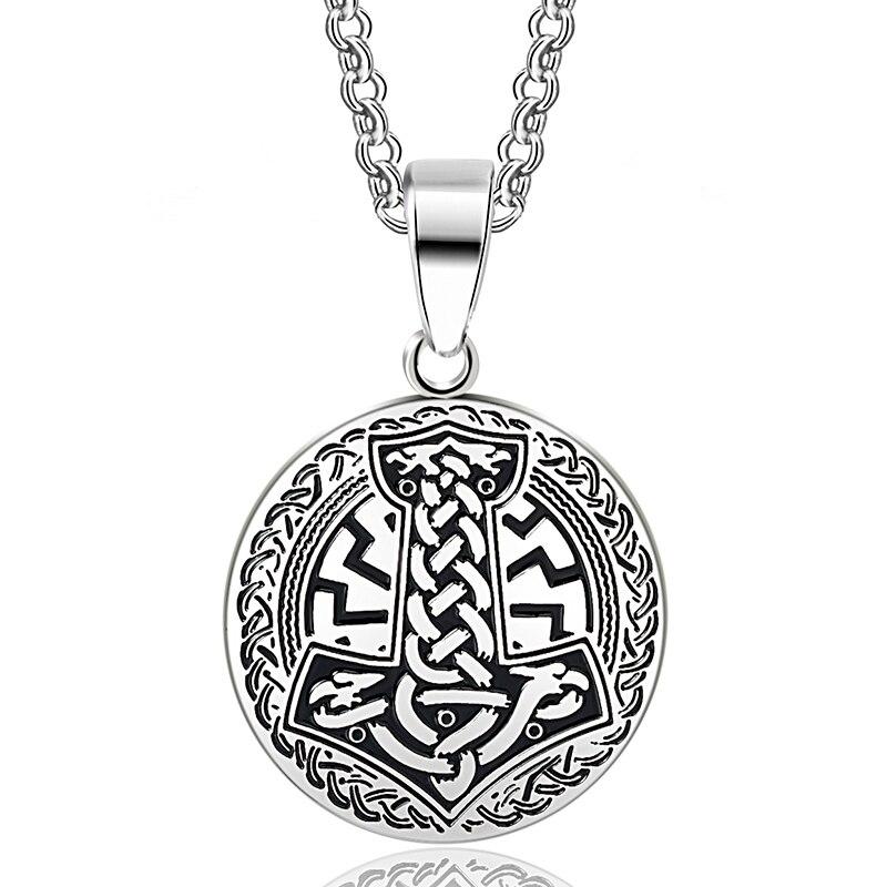 ABAICER -1 Uds collar con colgante de vikingos nórdicos Thors Hammer Knot Vikingo y slavics Amulet nórdico talismán