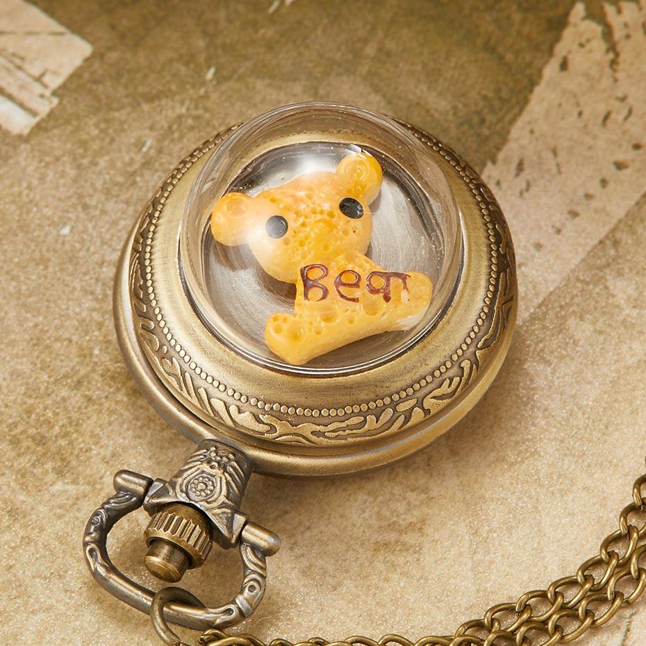 Unique Vintage Cute Bear Owl Dolphin Translucent Pocket Watch Men Women Retro Necklace Fob Clock Chain Pendant Gift For Child