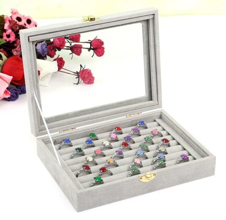 Novo anel quente caixa organizador caixa de armazenamento de jóias moda jóias exibir caixa de jóias titular caixa de presente