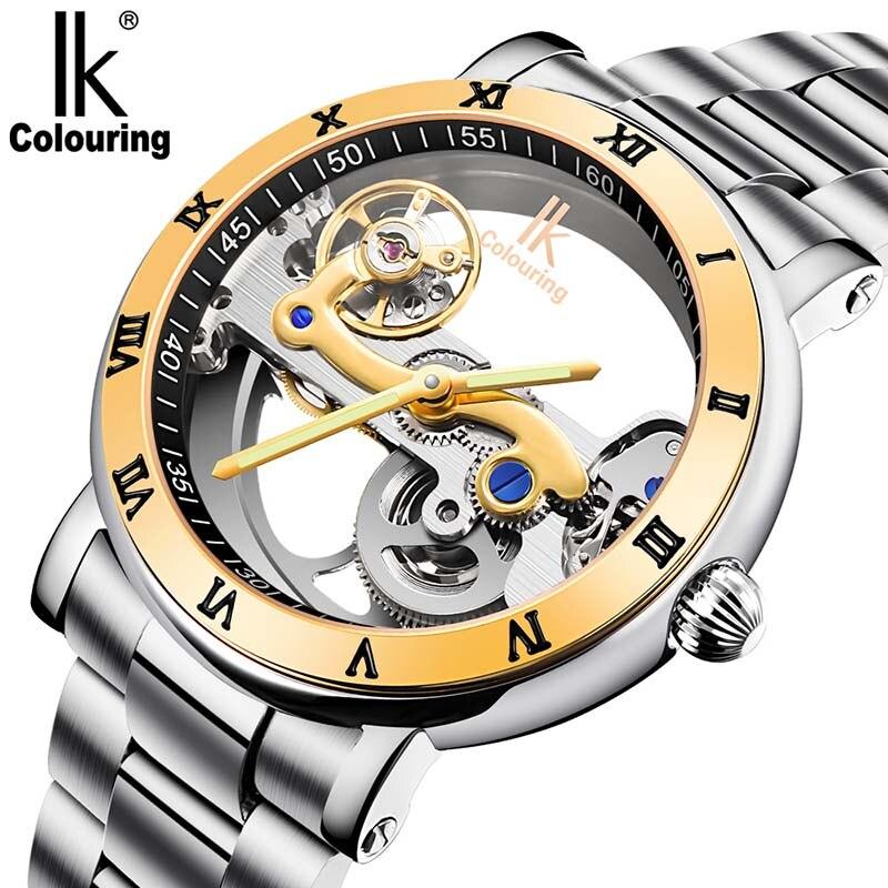 Reloj de hombre Tourbillon automático relojes mecánicos IK para colorear esqueleto transparente reloj de buceo full steel Man Clcok