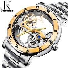 watch men Tourbillon Automatic mechanical Watches IK colouring Skeleton Transparent Watch Diving full steel Man Clcok