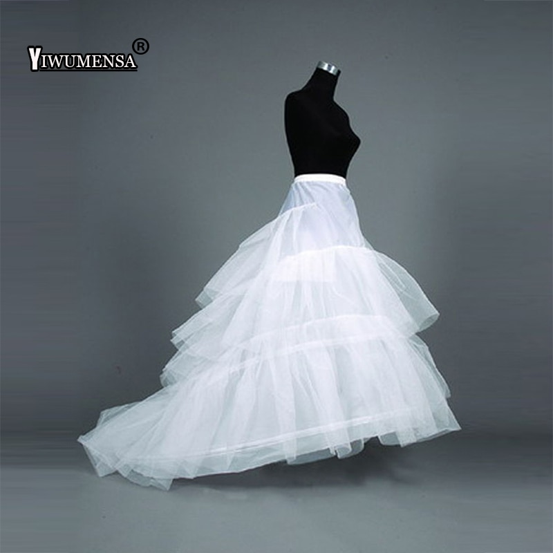 High Quality Beige Mermaid Petticoat Train Crinoline Underskirt 3-Layers For Wedding Dresses Bridal Gowns 2018