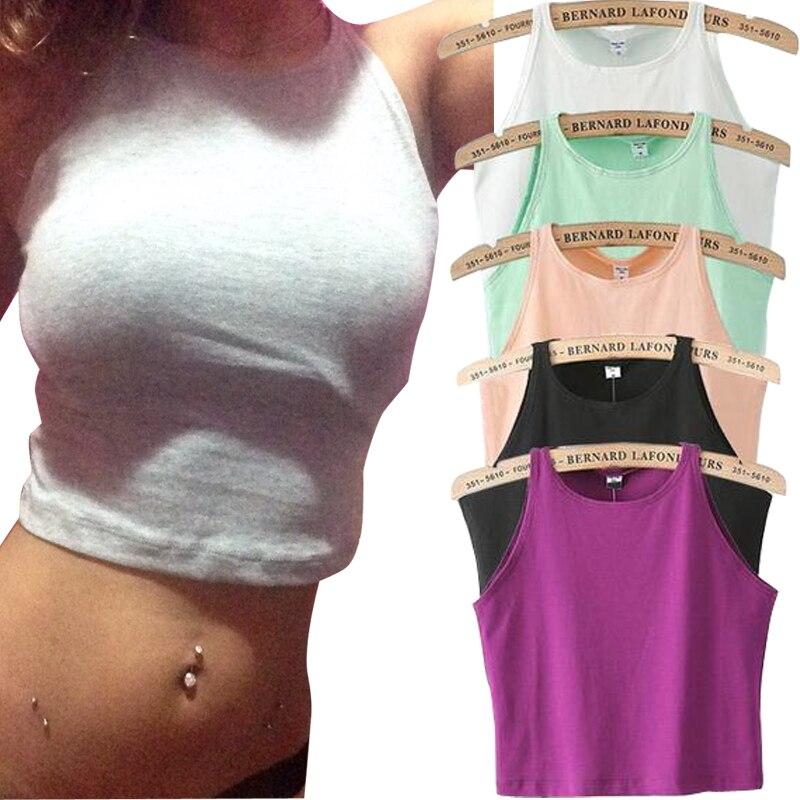 6 colores Fitness Skinny Crop Top 2019 nuevas mujeres corpiño ajustado Crop Top Skinny camiseta vientre s Dance tapas chaleco camisetas sin mangas
