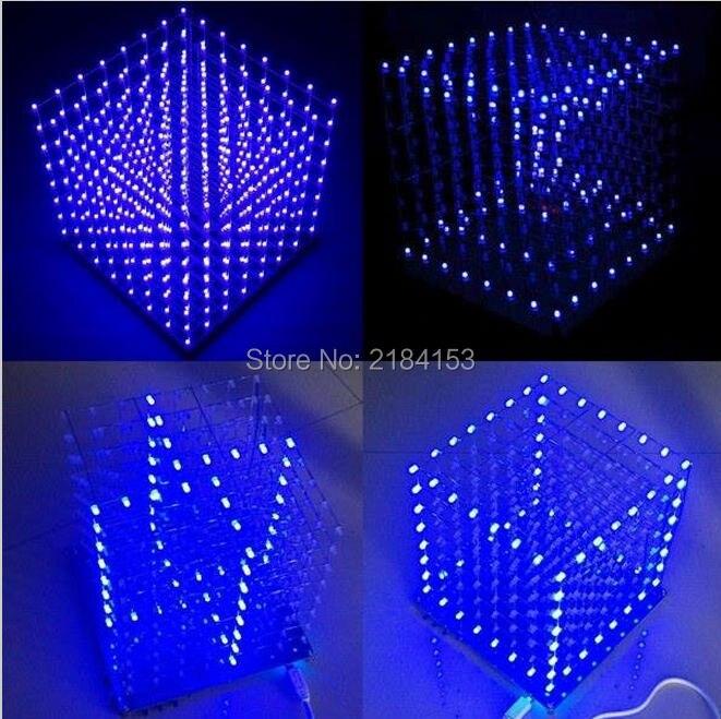 WeiKdez 8x8x8 LED cubo 3D luz cuadrado azul LED kit DIY electrónico